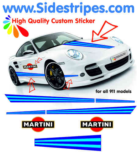 Martini Racing side stripe - Martini & Hood decal Sticker Set all PORSCHE 911 Models Art.N°: 6003