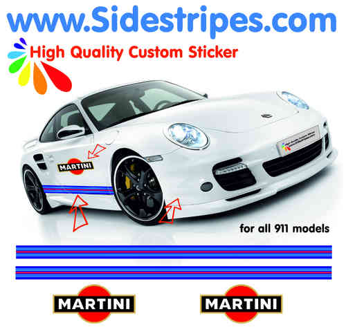 Martini Racing side stripe & Logo decal Sticker Set for all PORSCHE 911 Models Art.N°: 6004