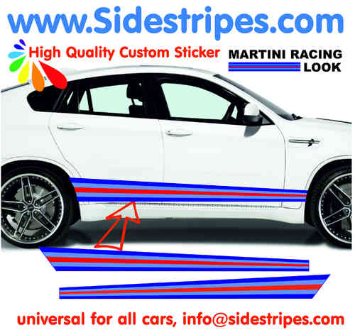 Martini Racing side stripe sticker decal set - fits on any car  Art.N°: 6006