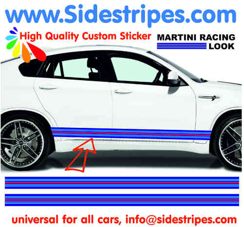 Martini Racing 220cm X 8cm side stripe Sticker Set fits on any car  Art.N°: 6007