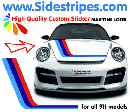 Martini Racing Hood Decal Sticker Dekor Set for all PORSCHE 911 Models Art. N° 6010