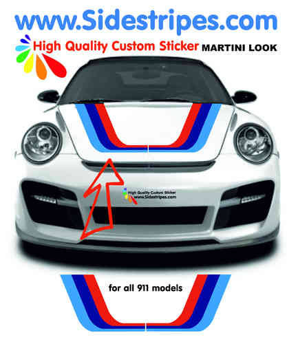Martini Racing hood bonnet decal sticker set for all PORSCHE 911 Models Art.N°: 6011