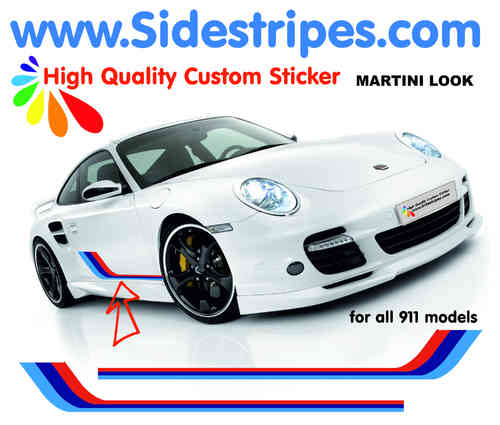 Martini Racing side stripe decal sticker set for all PORSCHE 911 Models Art.N°: 6014