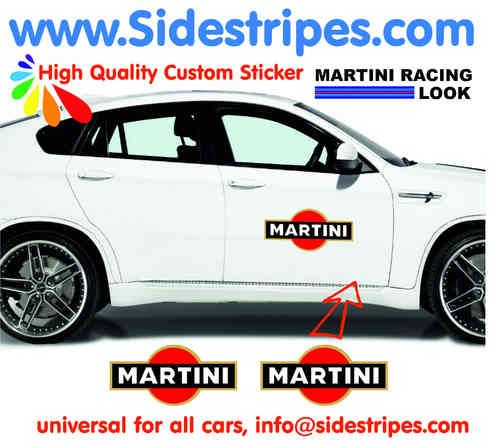 Martini Racing side stripe & Logo decal Sticker Set for all PORSCHE 911 Models Art.N°: 6001