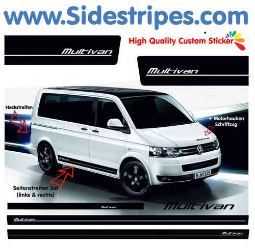VW Bus T4 T5 Multivan side stripe sticker decal  complete set edition look - N° 3001