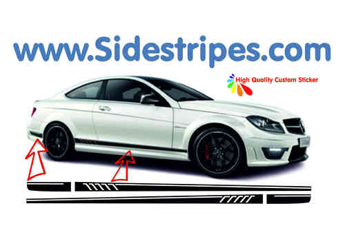 Mercedes Benz C63 Coupe AMG 507 replica side stripe sticker decal complete set - N° 5944