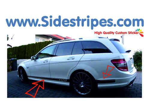 Mercedes Benz C63 Kombi - 507 replica side stripe sticker decal complete set - N° 3047