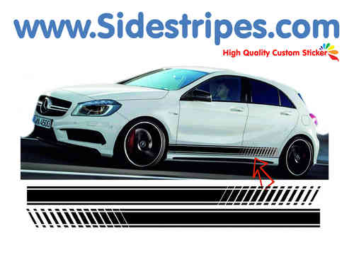 Mercedes Benz A class - EVO look side stripe sticker decal  complete set - N° 7093