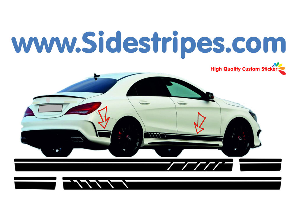 Mercedes benz cla 45 amg side stripe replica sticker decal complete set n 7096