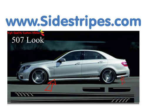 Mercedes Benz E Klasse limousine - 507 side stripe sticker decal replica complete set - N° 9863