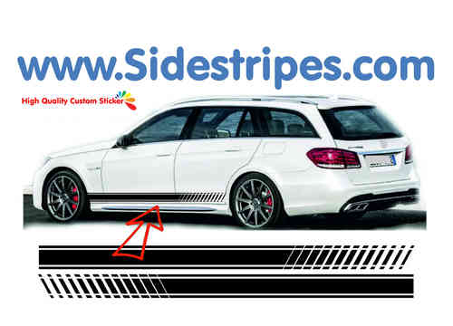 Mercedes Benz E class station wagon - EVO Look side stripe sticker decal complete set - N° 7070