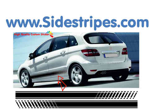 Mercedes Benz B class - EVO Look side stripe replica sticker decal complete set - N° 7094