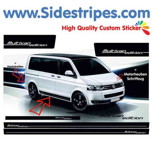 VW Bus T4 T5 Multivan Edition side stripe sticker decal complete set - N° 9717