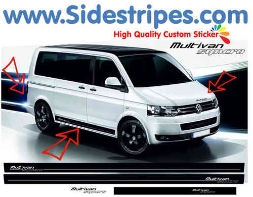 VW Bus T4 T5 Multivan Syncro side stripe sticker decal complete set - N° 9013