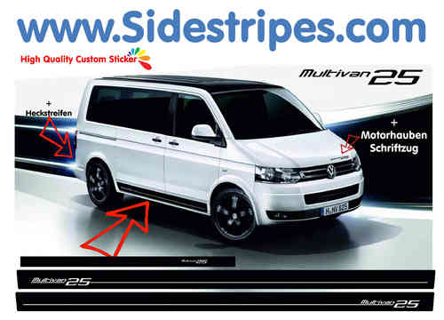 VW Bus T4 T5 Multivan 25 Edition side stripe sticker decal complete set - N° 7001
