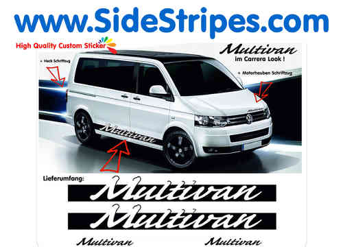 VW Bus T4 - T5 Multivan Porsche Carrera Look  side stripe sticker decal complete set - N° 6077