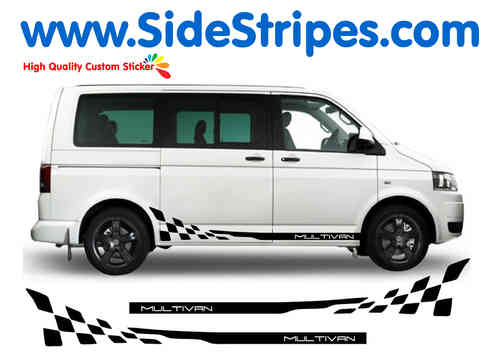 VW Bus T4 T5 Multivan Checker side stripe sticker decal complete set - N° 2016