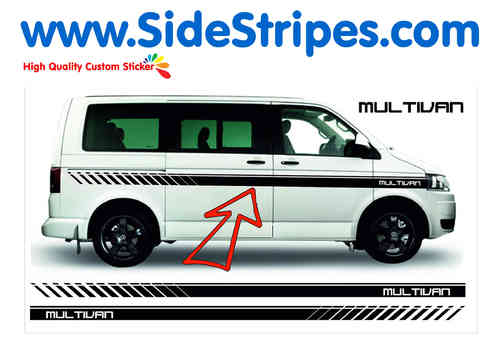 VW Bus T4 T5 Multivan EVO Custom side stripe sticker decal complete set - N° 6024