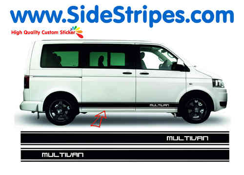 VW Bus T4 T5 Multivan side stripe sticker decal complete set - N° 6025