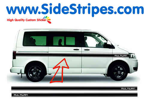 VW Bus T4 T5 Multivan Custom side stripe sticker decal complete set - N° 2555