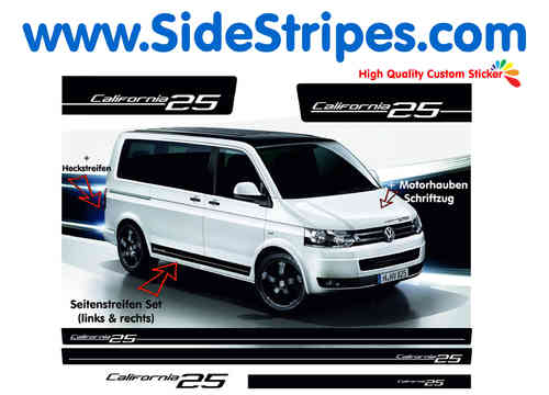 VW Bus T4 T5 California side stripe sticker decal complete set - N° 5112