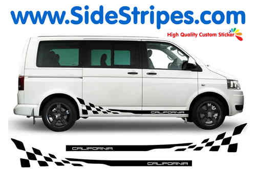 VW Bus T4 T5 CALIFORNIA Checker  side stripe sticker decal complete set - N° 5202