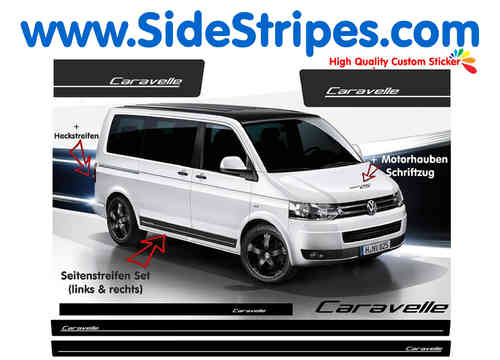 VW Bus T4 T5 Caravelle side stripe sticker decal complete set edition look - N° 5172