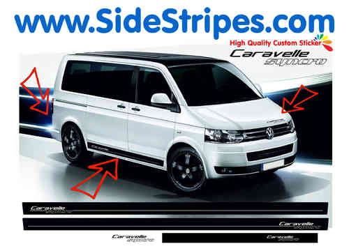 VW Bus T4 T5 Caravelle Syncro side stripe sticker decal complete set - N° 9012