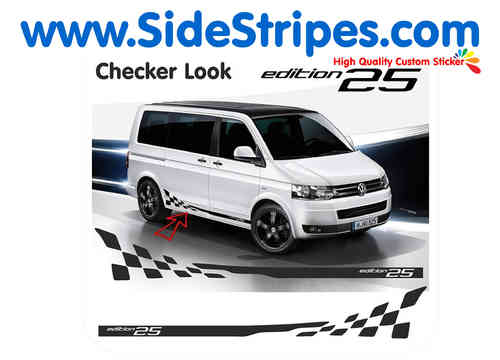 VW Bus T4 T5 Edition 25 Checker side stripe sticker decal complete set - N° 5222