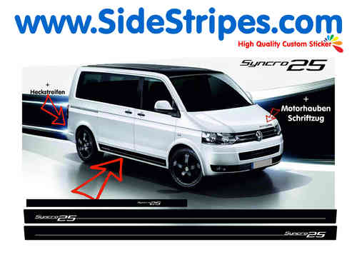 VW Bus T4 T5 Syncro 25 Edition side stripe sticker decal complete set - N° 7003