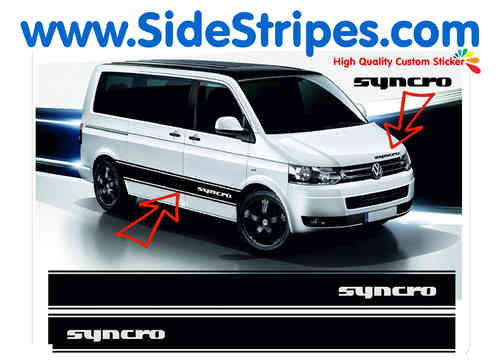 VW Bus T4 T5 Syncro side stripe sticker decal complete set - N° 5034