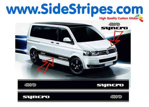 VW Bus T4 T5 Syncro 4WD  side stripe sticker decal complete set - N° 5033