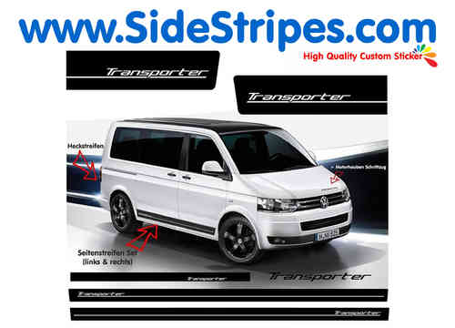 VW Bus T4 T5 Transporter Edition Look side stripe sticker decal complete set - N° 6011