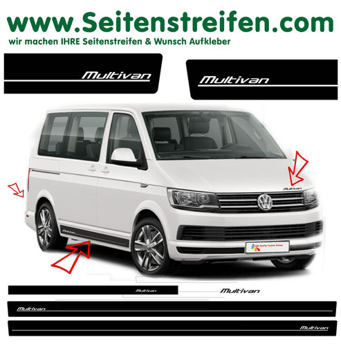 VW Bus T6 Multivan - side stripe sticker decal  complete set edition look - N° 5423