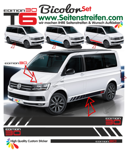 VW T6 Multivan Edition 30 - side stripe sticker decal  complete set edition look - N° 9470