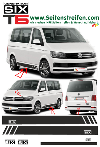 VW T6 Edition Generation Six - side stripe sticker decal  complete set edition look - N° 5497