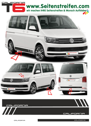 VW T6 California - side stripe sticker decal  complete set edition look - N° 5476
