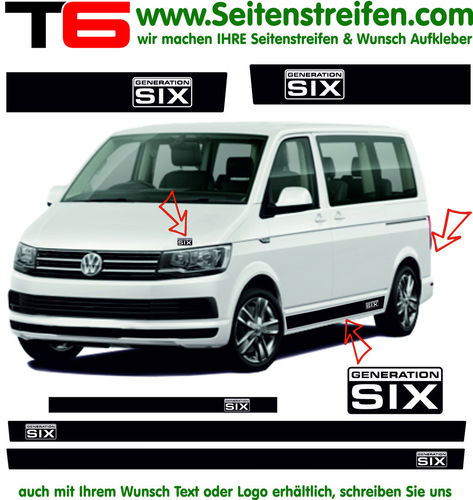VW T6 - GENERATION SIX Edition - side stripe sticker decal complete set edition look - N° 7777