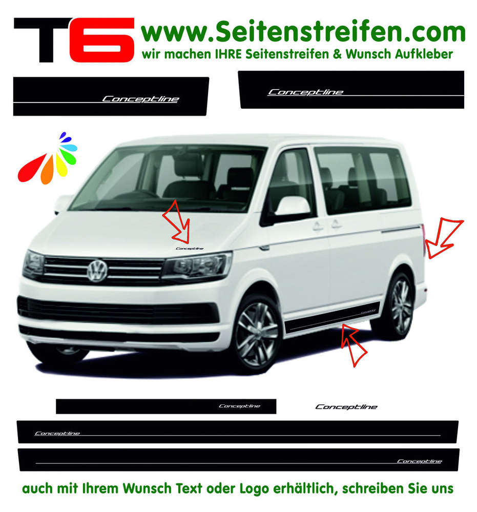 Vw T6 Concept Line Edition Look Side Stripe Sticker Decal Complete Set Edition Look N 6676