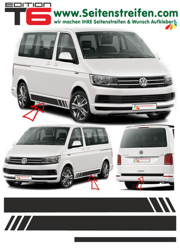 VW T6 Edition without text - side stripe sticker decal complete set edition look - N° 5475