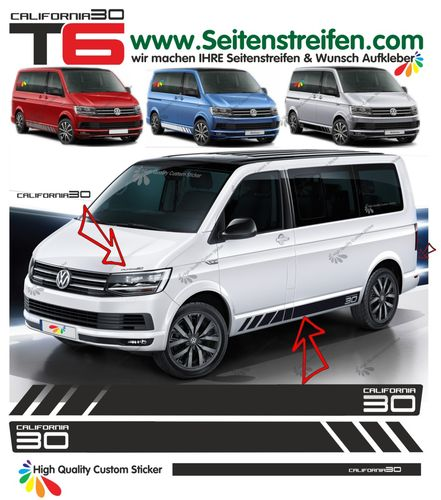 VW T6 California 30 Edition - side stripe sticker decal complete set edition look - N° 9684