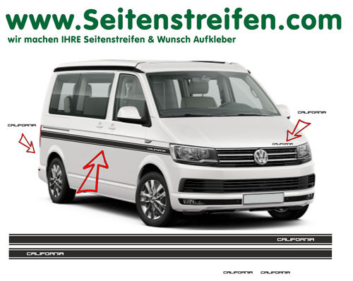 VW T6 California Custom  - side stripe sticker decal complete set edition look - N° 6685