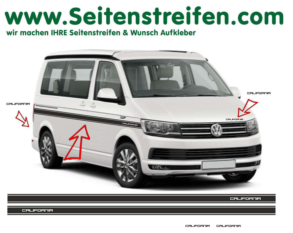 Vw T6 California Custom Side Stripe Sticker Decal Complete Set Edition Look N 6685