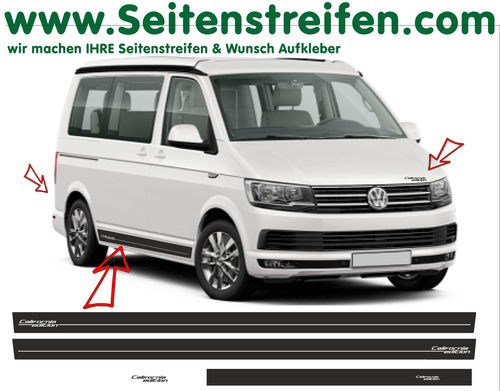 VW T6 California Edition - side stripe sticker decal complete set edition look - N° 6686