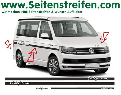 VW T6 California Elegant Custom - side stripe sticker decal complete set edition look - N° 6688