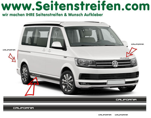 VW T6 California Version N°2 - side stripe sticker decal complete set edition look - N° 6690