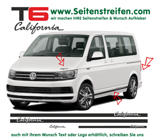 "VW T6 California ""elegant"" - side stripe sticker decal complete set edition look - N° 6679"