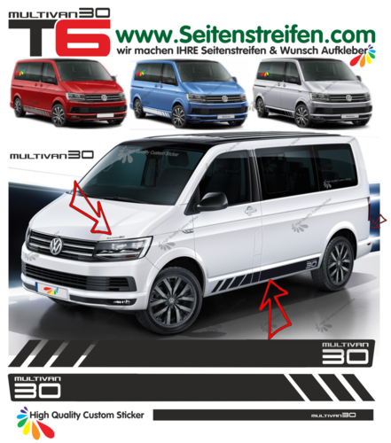 VW Bus T6 Multivan 30 Edition - side stripe sticker decal  complete set edition look - N° 9686