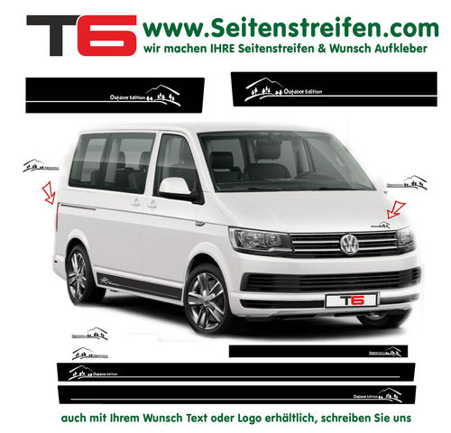 VW BUS T6 Outdoor Edition Look Seitenstreifen Aufkleber Dekor Komplett Set - Art.Nr.: 6678