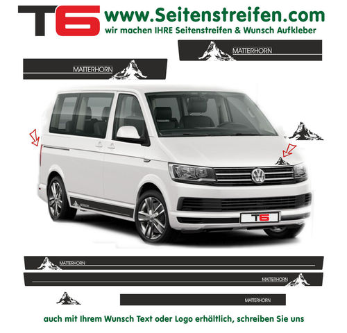 VW T6 Matterhorn Mountain Edition - side stripe sticker decal complete set- N° 7159